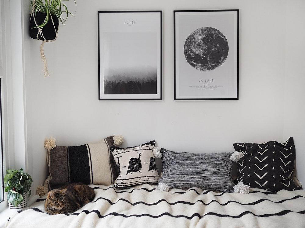 Boho monochrome style bedroom