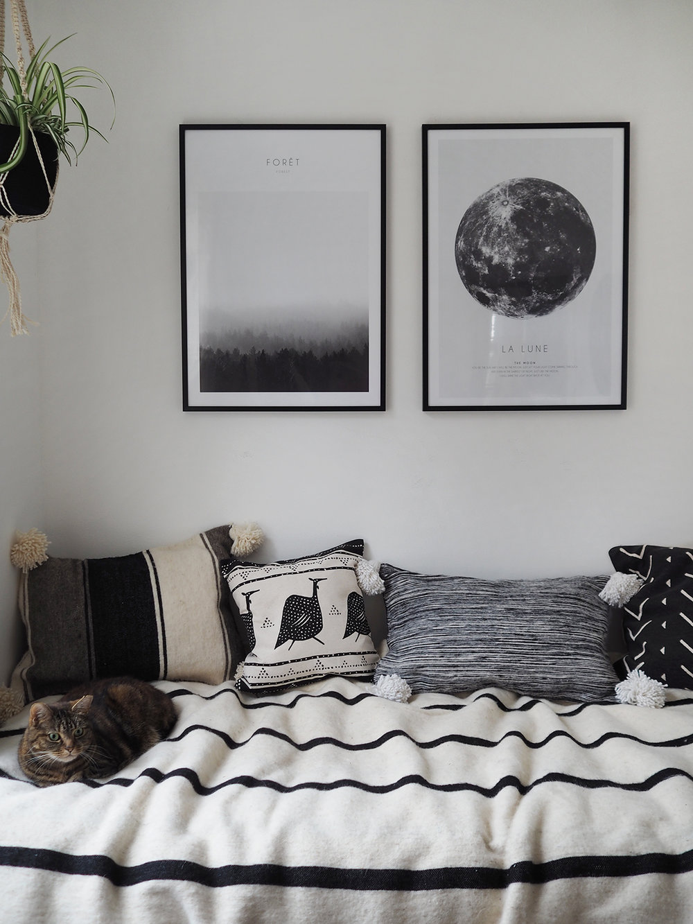 Boho monochrome small bedroom style