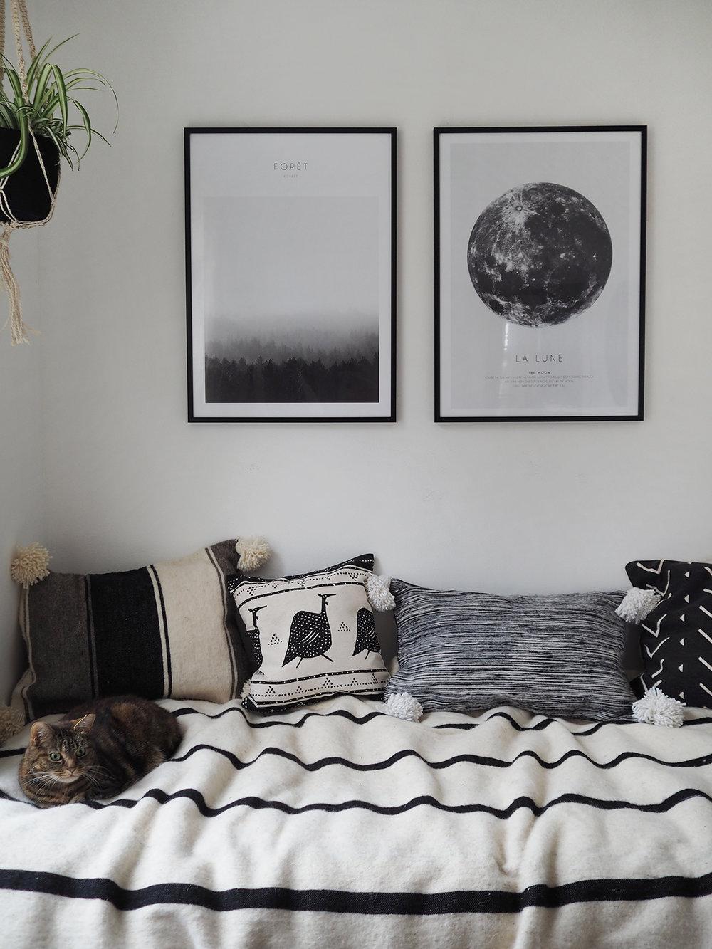 Boho monochrome small bedroom style