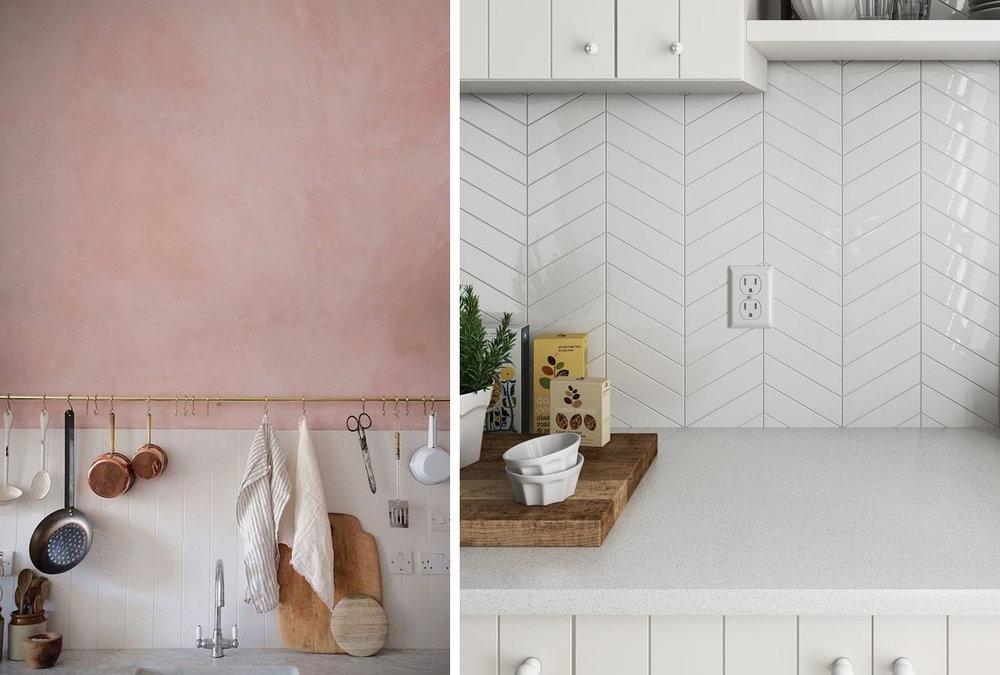 Left:  Pinterest  (unsure of source), Right: Tiles Direct