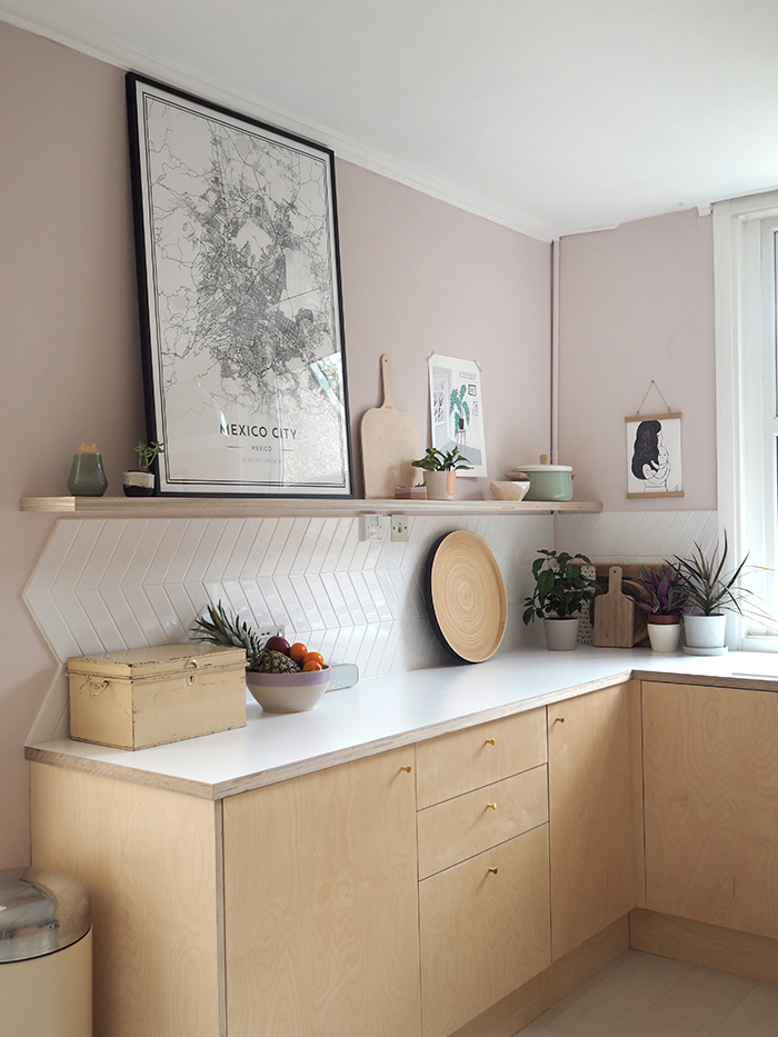 Farrow & Ball Calamine pink paint color in pink and plywood kitchen makeover by Patchwork Harmony.