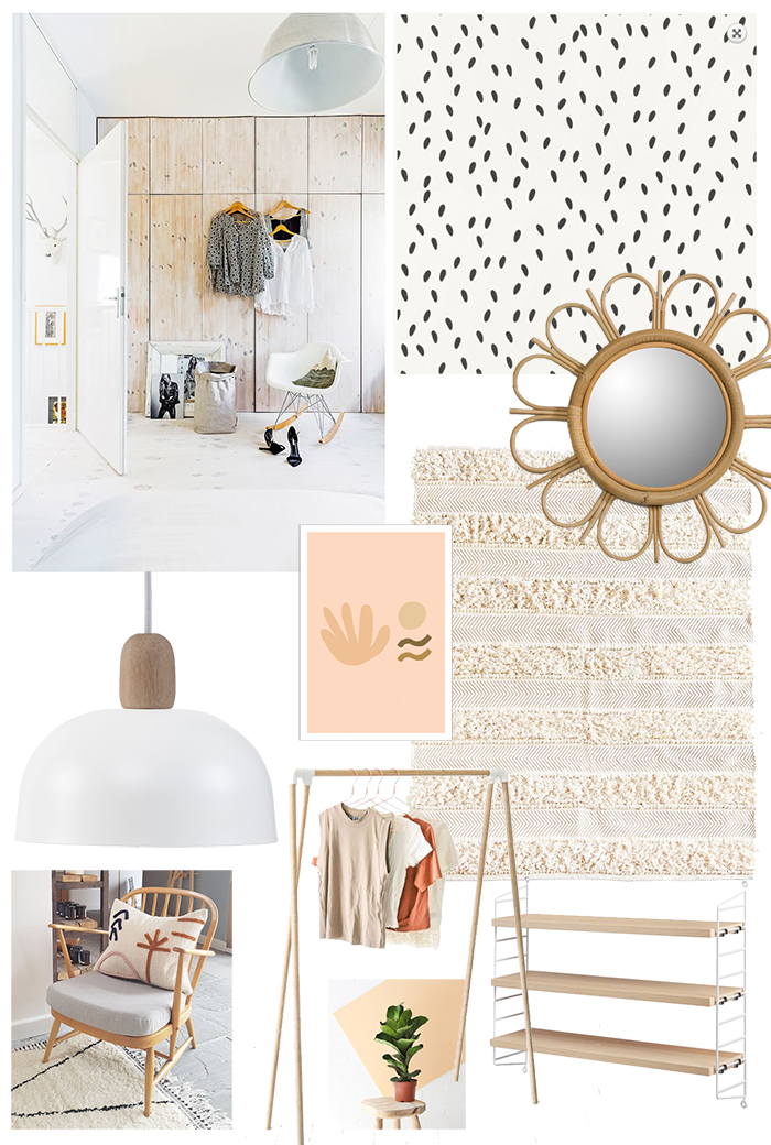 top left pic: via  My Scandinavian Home ; Wallpaper -  Ella by Sandberg ; Rattan mirror -  La Redoute ; Rug -  The Little Deer ; Art print -  Hattie Maud , Pendant light -  Made in Design ; Clothes rail -  The Little Deer ; Plant -  Beards & Daisies ; String shelving -  John Lewis
