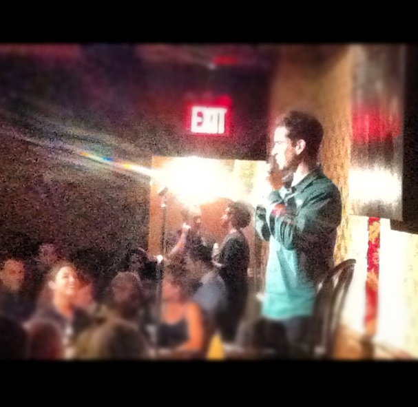 The only photo of me doing standup :(. Photo by Raphael Cohen.