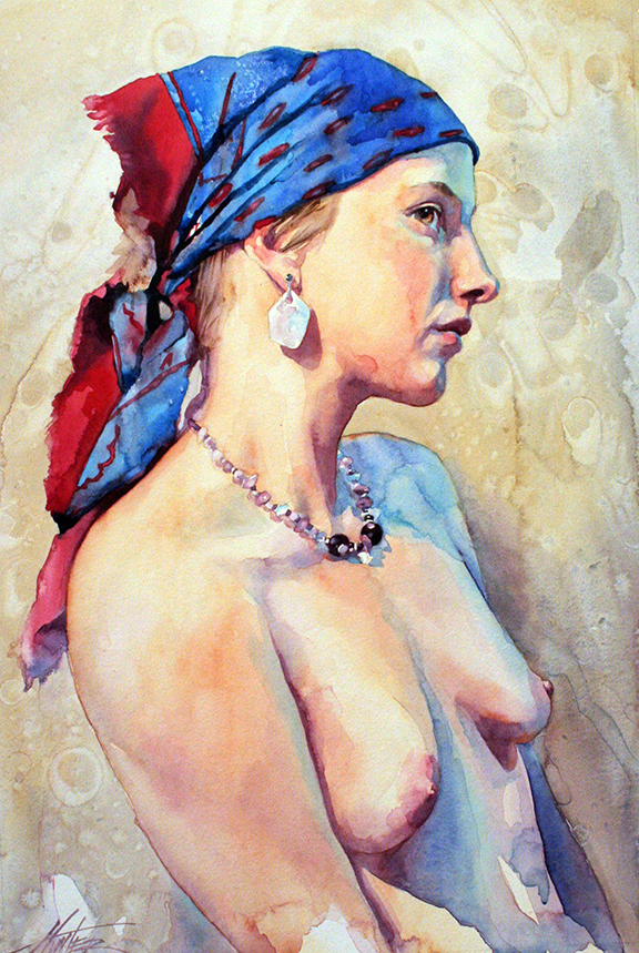 A Touch of Blue: Danielle, watercolor