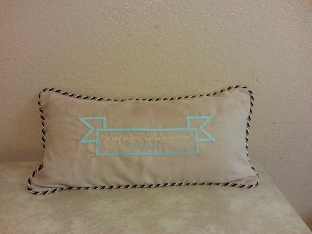 Personalized your favorite Scripture on the pillow.