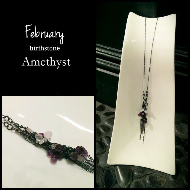 February-Amethyst  Did you know February's birthstone is the Amethyst? This historic gemstone comes in purple or violet and is a variety of quartz. It's been used for adornment since ancient Egypt, and even English regalia were decorated with amethyst to symbolize royalty! The amethyst is also known for its long list of healing properties. The ancient Greeks and Romans wore this purple gemstone to prevent drunkenness, and to keep the wearer's mind clear and cool-headed. We're not entirely convinced that this gemstone will prevent a hangover, but we do believe wearing a pair of our vine earrings with Amethyst will certainly give you confidence and style! February birthdays rejoice! Your birthstone is one of royalty and a rich history.