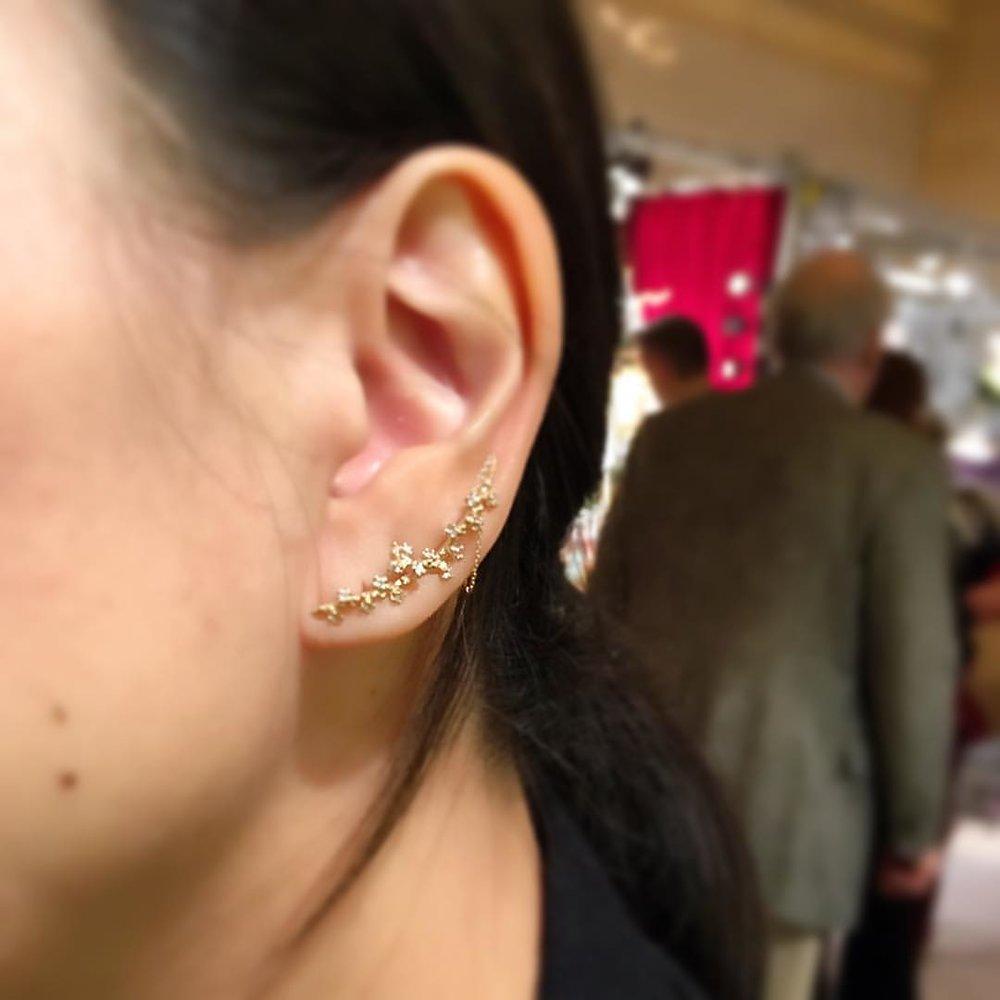 vine earrings in 14k gold with diamonds