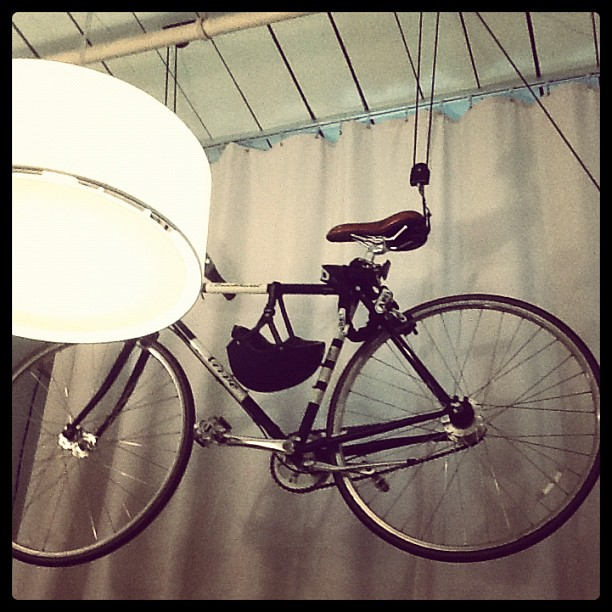 This is my new hoist storage for my bike at my new Brooklyn studio. (Taken with  Instagram )