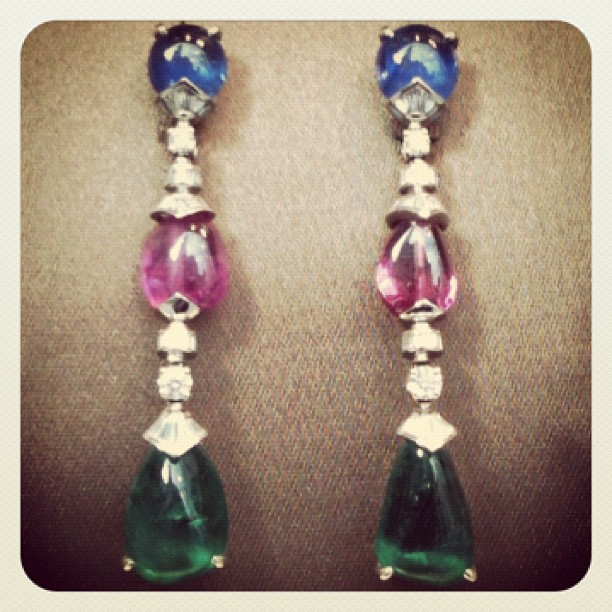 Yet another Bulgari set of earrings these are smooth beads from India I think. (Taken with  instagram )