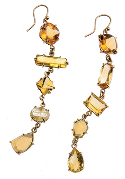 This unique king and queen set of earrings is can be made to order, citrine, 14K $1,100.00 whsl