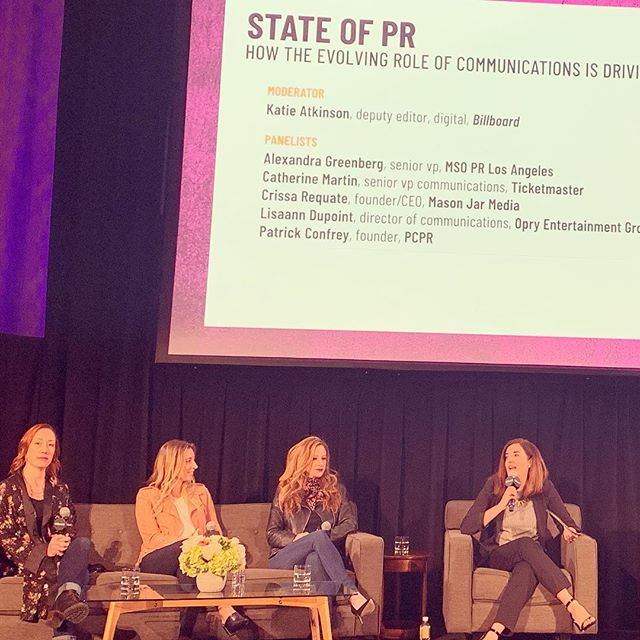 "Talking about the ""State of PR"" at the @billboard #livesummit this morning. Big thanks to @realdavebrooks @ktbyrnie and @morningglowmellie for inviting me (📸by @muddygirlmedia ) * * #festivalpr #prlife #musicindustry #musicpublicity #womeninmusic #shesaidso"