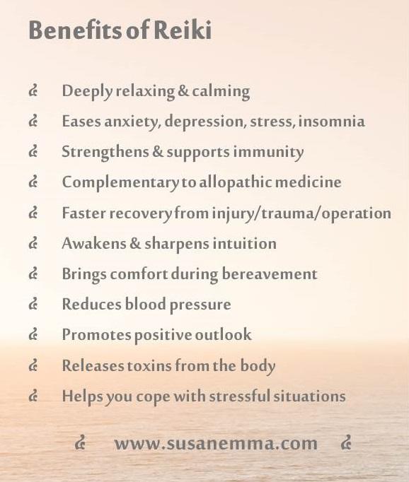 Benefits of Reiki. www.susanemma.com