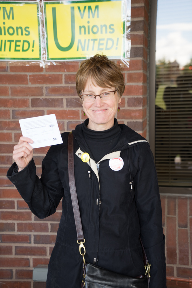 UA activist Nancy Welch collecting pledge cards.jpg