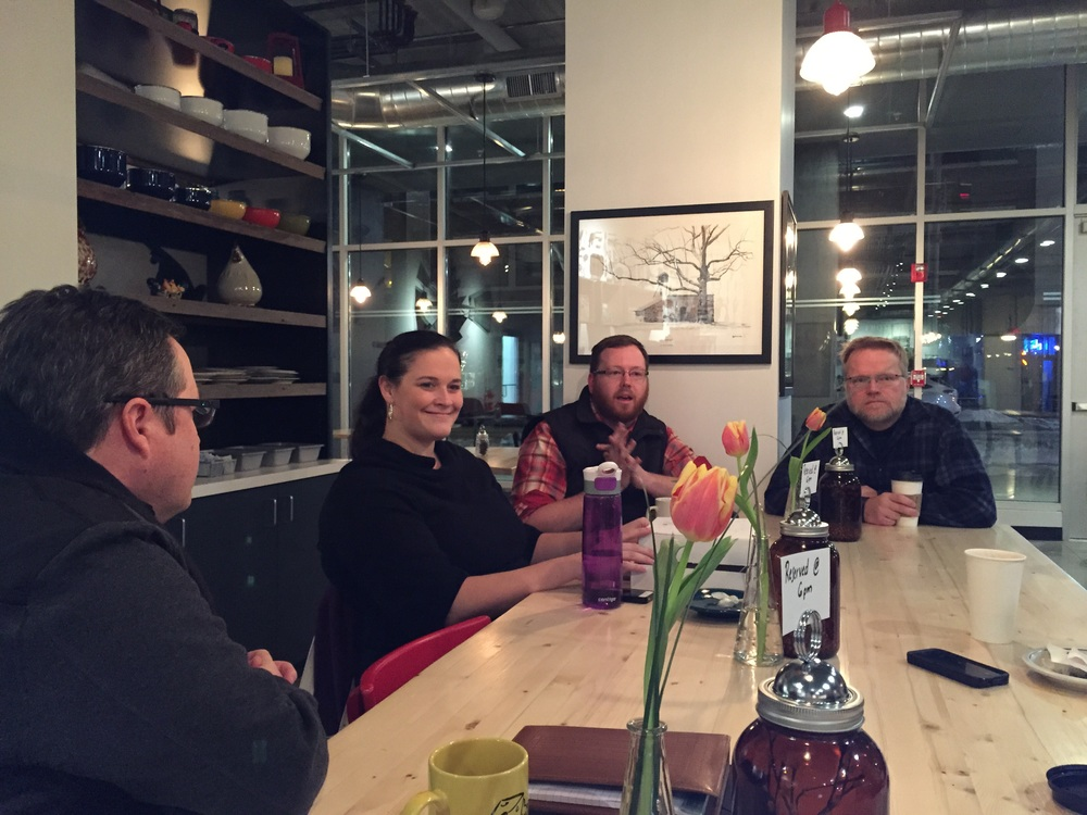 Aubrey Alvarez, second from left, spoke at the January monthly meet-up.