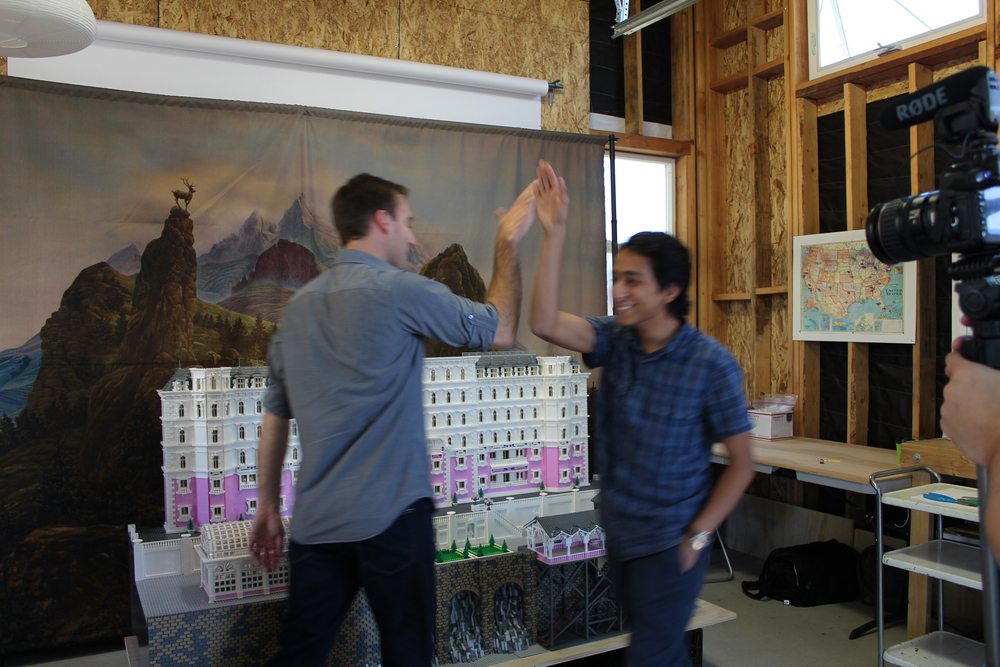 Tony Revolori and Ryan Ziegelbauer after a day of Grand Budapest LEGO Hotel inspection.
