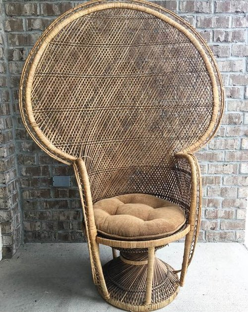 Cushioned Peacock Chair.jpg - Cushioned Peacock Chair — Savannah Vintage And Antique Furniture