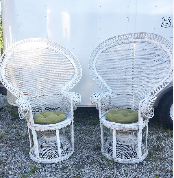 Lovely Matching White Peacock Chairs