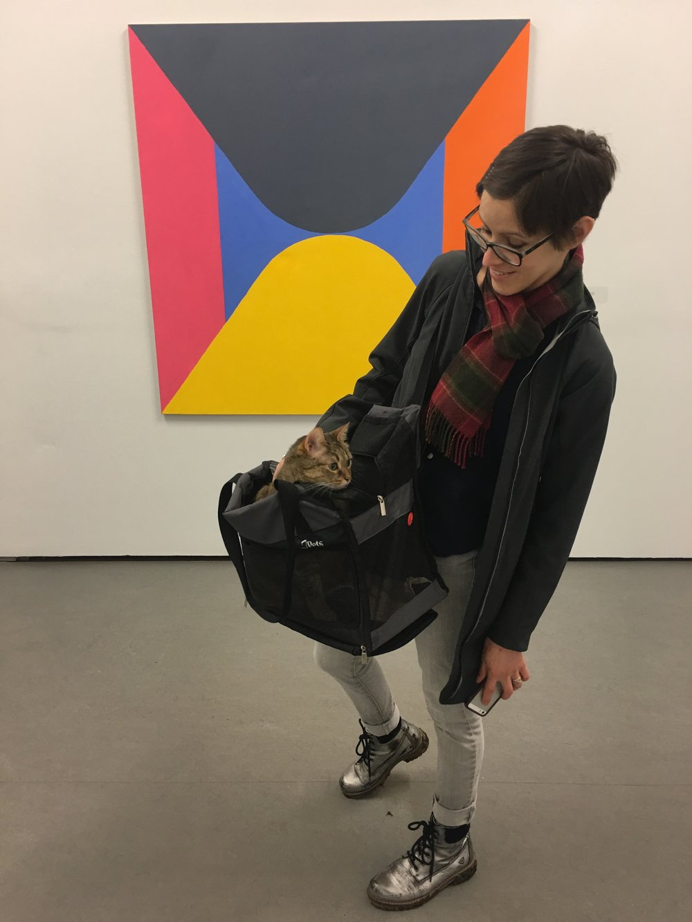 This is the carrier we've been using for the last couple years. It's okay. Aífe's quite happy in it, but it could be better for me... (photo at Limerick City Gallery on my birthday this year)