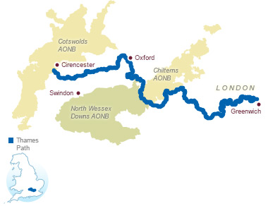 The Thames Path, as outlined on the National Trails website.