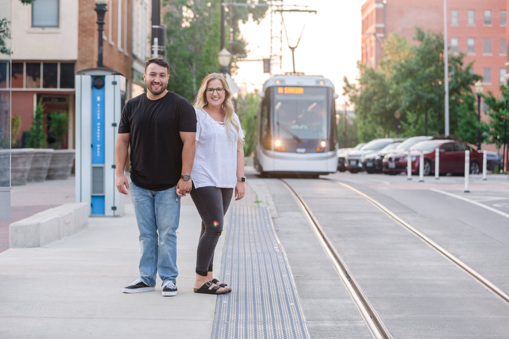 Kansas City Street Car Couple Photo Session