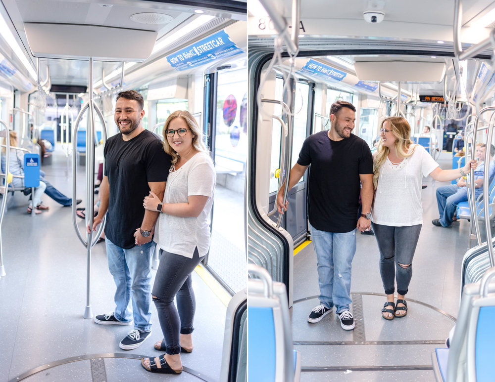 Kansas City Streetcar Couple Photo Session Engagement