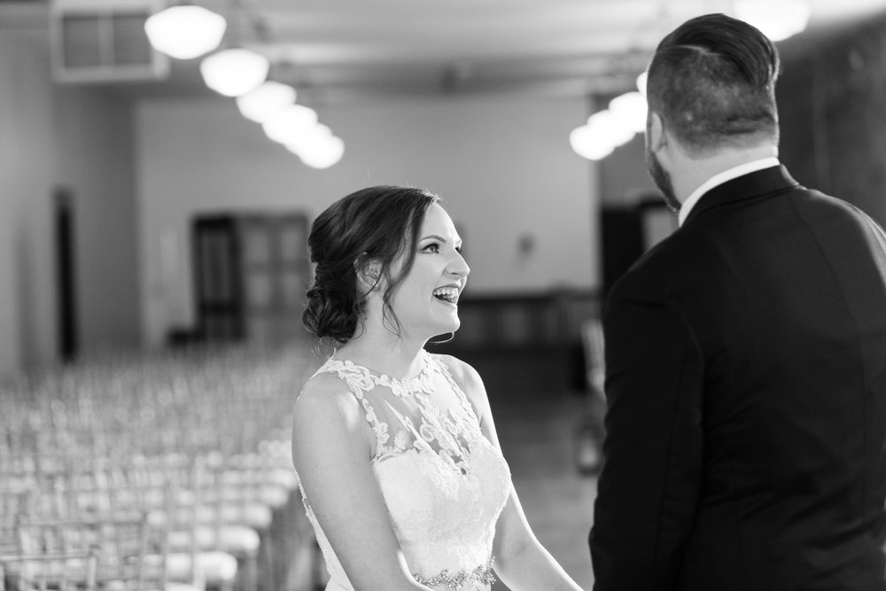 Bride and groom first look photo Paola Kansas