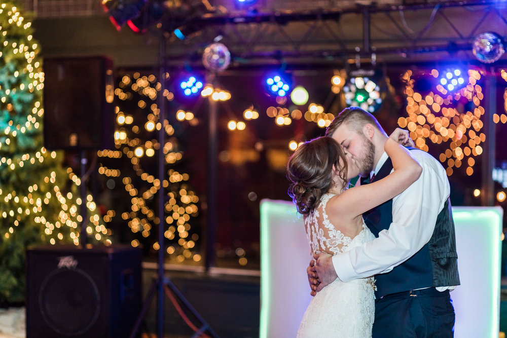 Kansas City wedding photographer reception first dance kiss photo