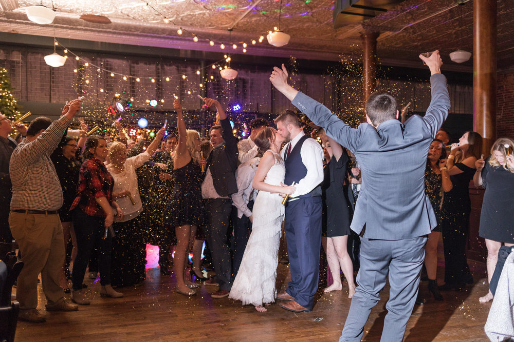 Kansas City wedding photographer new year's eve confetti midnight photo