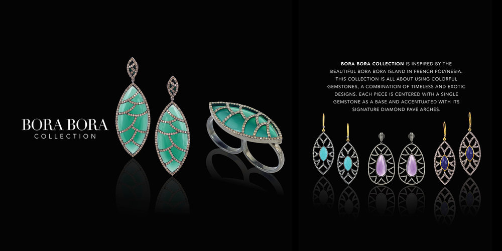BORA BORA COLLECTION is inspired by the beautiful BORA BORA Island in French Polynesia. This Collection is all about using colorful gemstones, a combination of timeless and exotic designs.  Each piece is centered with a single gemstone as a base and accentuated with its signature diamond pave arches.
