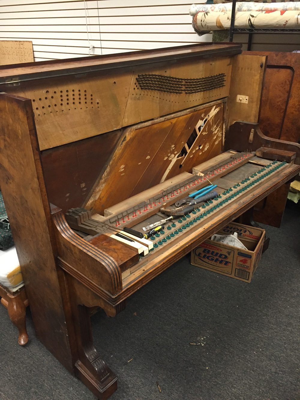 The piano as it arrived in our shop. This was definitely an ugly duckling phase!