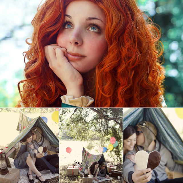 Top: Savi Yummy (Brave cosplay). Bottom: Joy-Harmon-Prouty (Up engagement shoot)