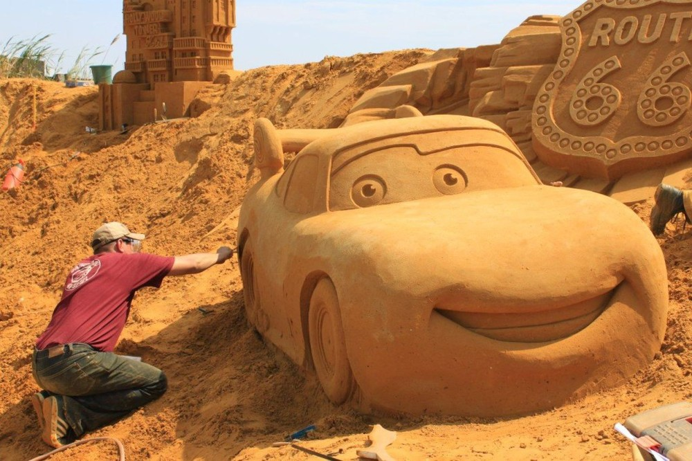 The Blankenberge fest featured sculptures on the beach—like this massive Cars sculpture. Courtesy: Disney Parks.