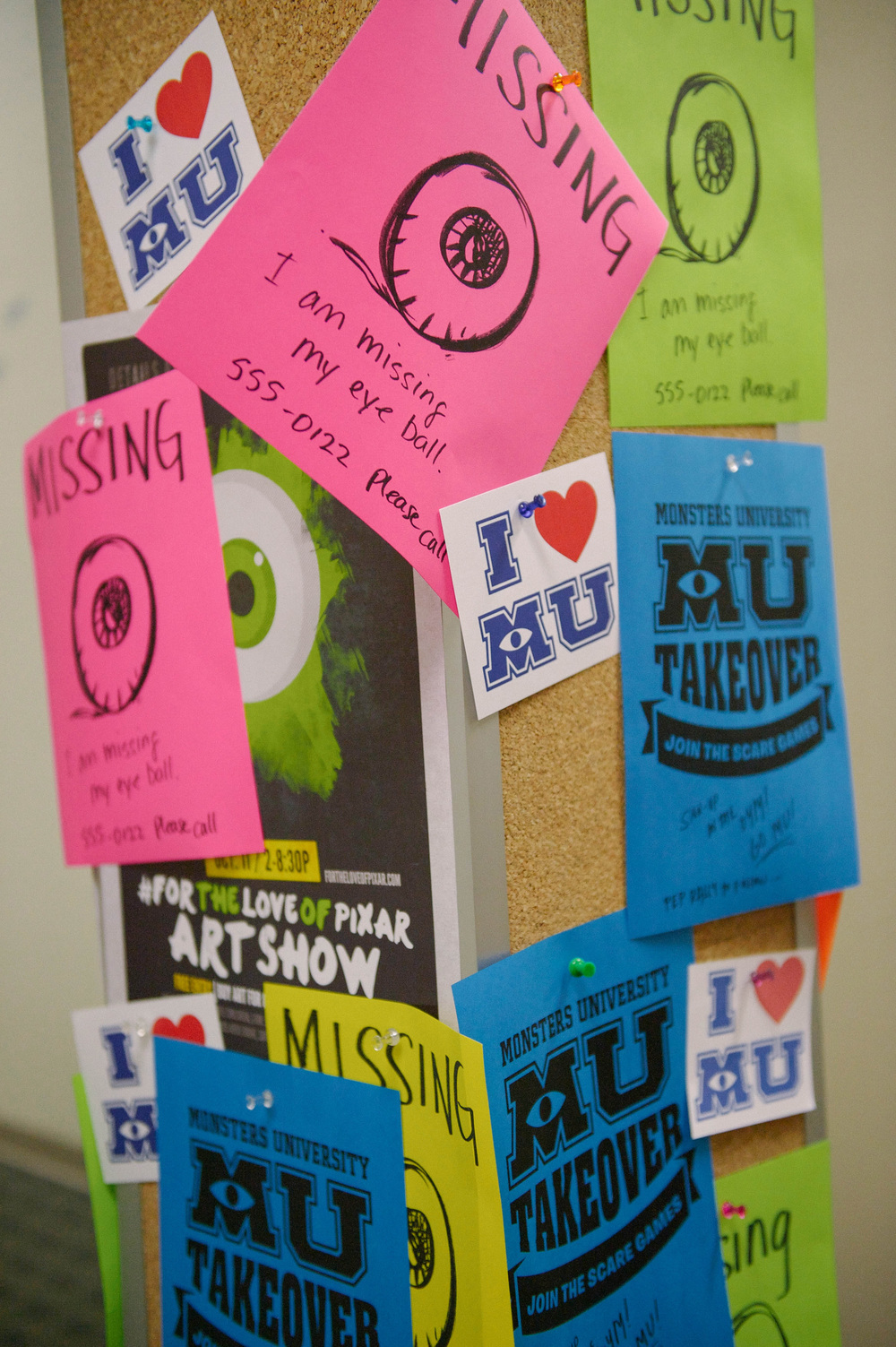 Monsters University event posters. Photo by Lisa Diaz.