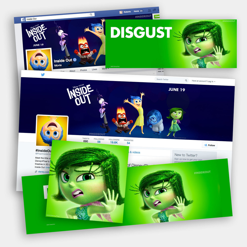 Pixar's Inside Out social media channels and assets.