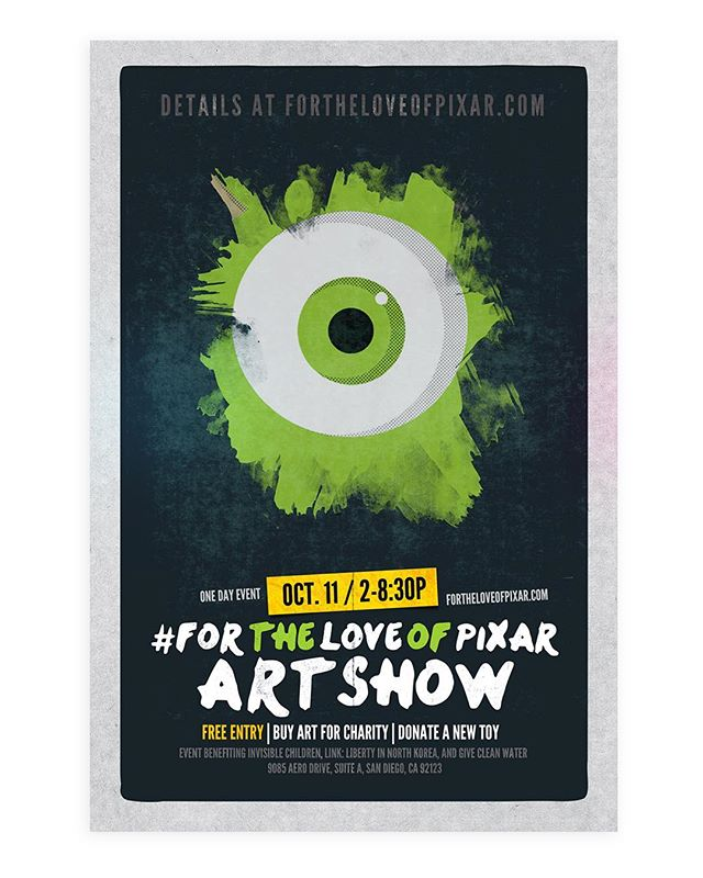 For the Love of Pixar: Art Show Event Poster, 2014. #pixar #pixar #disney #disneyfan #artshow