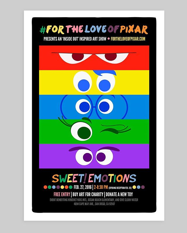 For the Love of Pixar: Art Show Event Poster, 2016. #pixar #pixar #disney #disneyfan #artshow