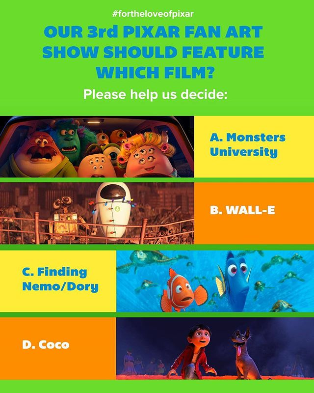 We have a ton of ideas for our 3rd show, but we need you to help us decide which Pixar film is most deserving of a fan art show. Please vote (A) Monsters University, (B) WALL-E, (C) Finding Nemo/Dory, or (D) Coco in the comments below. Tag your friends and have them vote too! 😃😃 #fortheloveofpixar #pixar #disney #artshow #monstersuniversity #walle #findingdory #coco