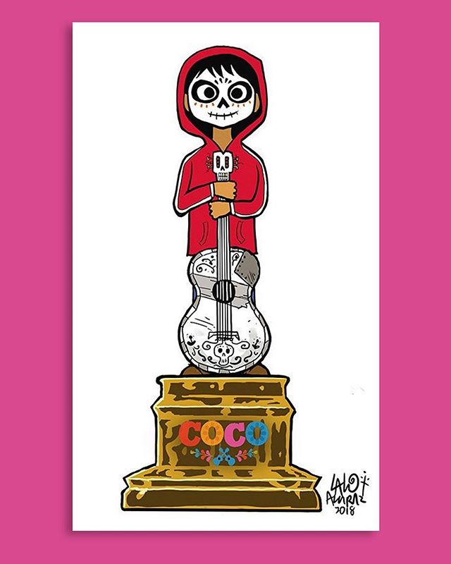 As of this morning, 'Coco' is now an Oscar nominated film! Congrats to Lee, Adrian, Darla and the rest of the team for this extraordinary achievement. We'll be rooting for you come Oscar Night! 🙌🏼🏆👏🏼 Illustration by the incredibly gifted, Lalo Alcaraz. #pixarcoco #coco #pixar #disney #oscar