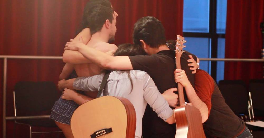 Group hug before the show