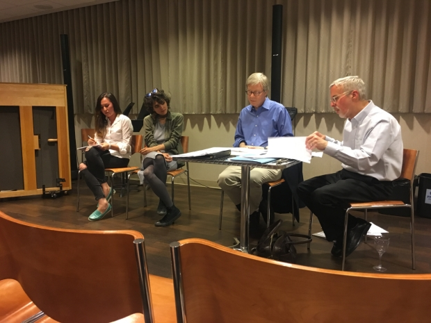 Emily Gardner Xu Hall and Aya Aziz receiving feedback on their 10-minute musical from Pat Cook and Rick Freyer in the BMI Lehman Engel Musical Theatre Writing Workshop
