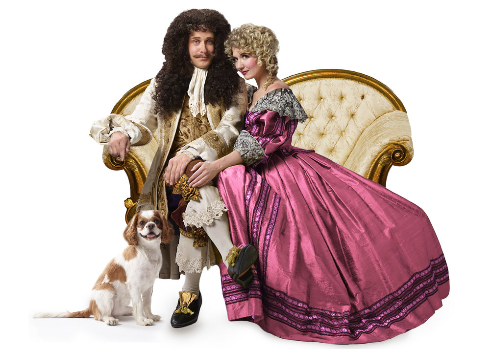 Timothy Edward Kane and Scarlett Strallen as King Charles II and Nell Gwynn