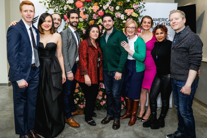 The award winners with Julie Larson, Heather Hitchens and members of the original cast of Rent. From left: Ben Wexler, Emily Gardner Xu Hall, Andy Roninson, Avi Amon, Julie Larson, Matt McCollum, Heather Hitchens, Julie Gytri, Daphne Rubin-Vega, Anthony Rapp. Photo: Marc J. Franklin for Playbill