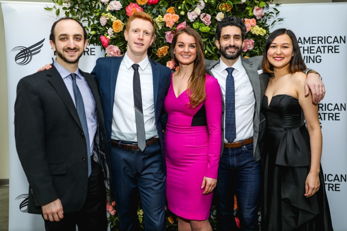 The 2019 Jonathan Larson Grant winners. From left: Andy Roninson (music & lyrics), Ben Wexler (music & lyrics), Julia Gytri (lyrics) and Avi Amon (music), Emily Gardner Xu Hall (music & lyrics). Photo: Marc J. Franklin for Playbill