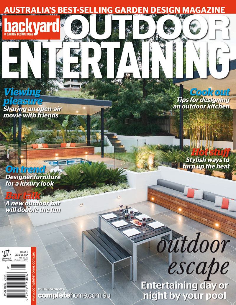 "Resort Style    My image of this amazing resort style garden designed and built by Apex Landscapes has made the cover of the latest issue of  Backyard and Garden Design Ideas  magazine.   Built on a very challenging large, steep block Apex Landscapes have produced a wonderful space which we decided, due to the many covered features and levels, would photograph best during the ""magic hour"".   You can see more of this project as well as many of  Apex Landscapes  other projects on their web site."
