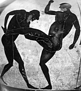 Vase painting of a Pankratios (left) countering a front kick with a single leg takedown.