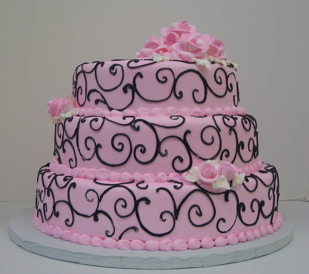 35 in Pink Butter Cream with Black Scrolls & Pink Butter Cream Roses