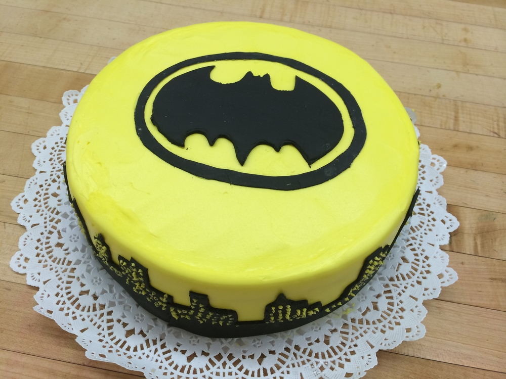 Yellow Butter Cream Batman Log & City Skyline