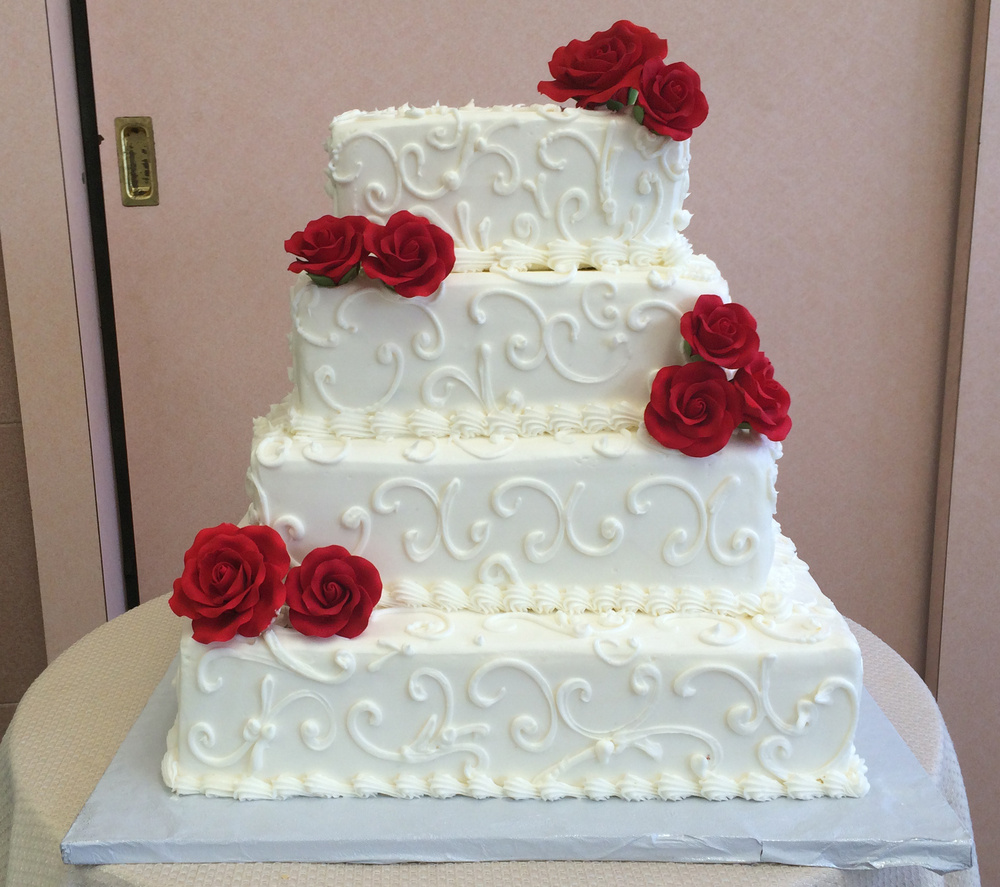 35 Square All White with Red Gum Paste Roses