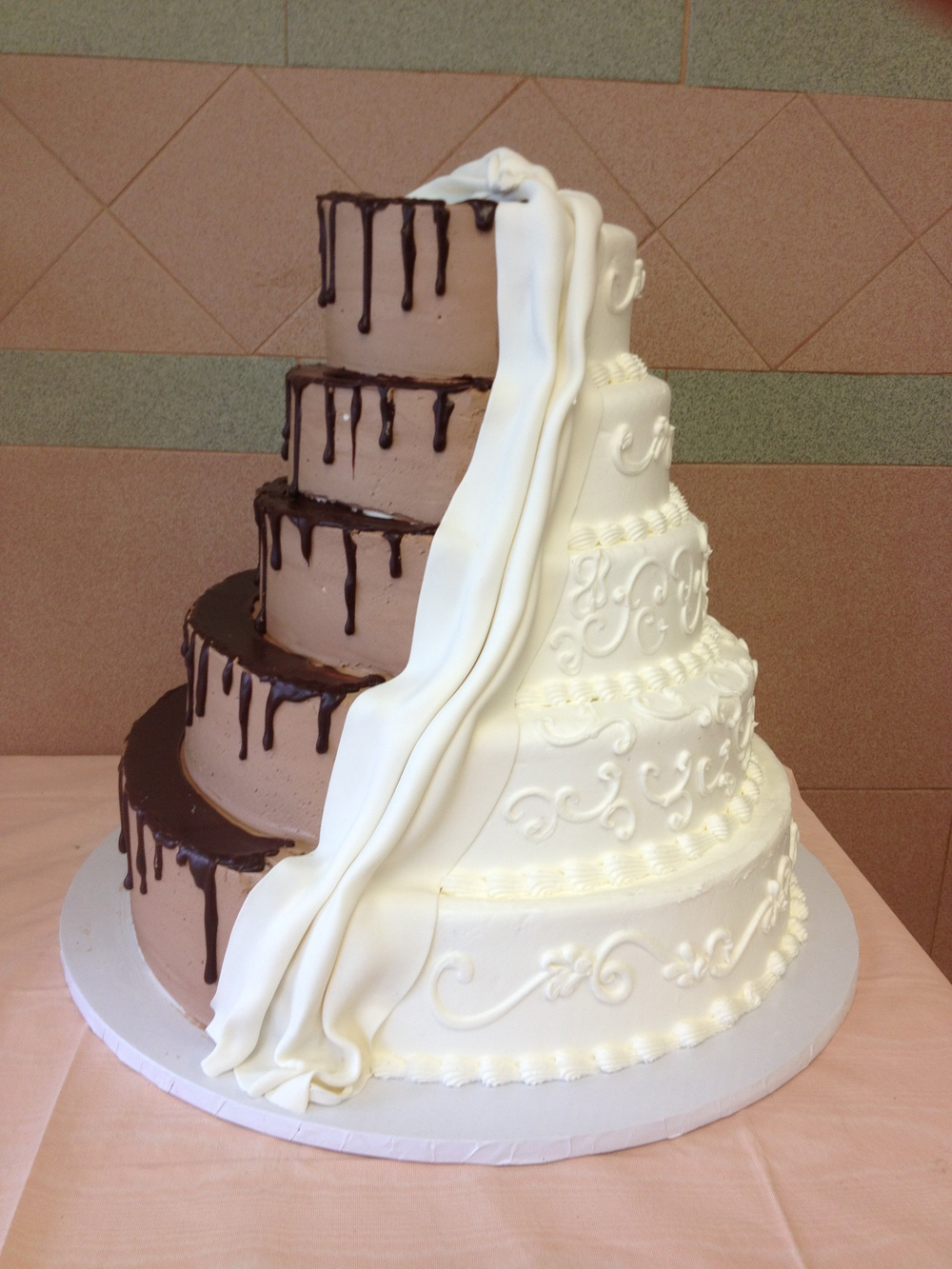 half chocolate and vanilla wedding cake contemporary wedding cakes sal amp dom s pastry shop 15049