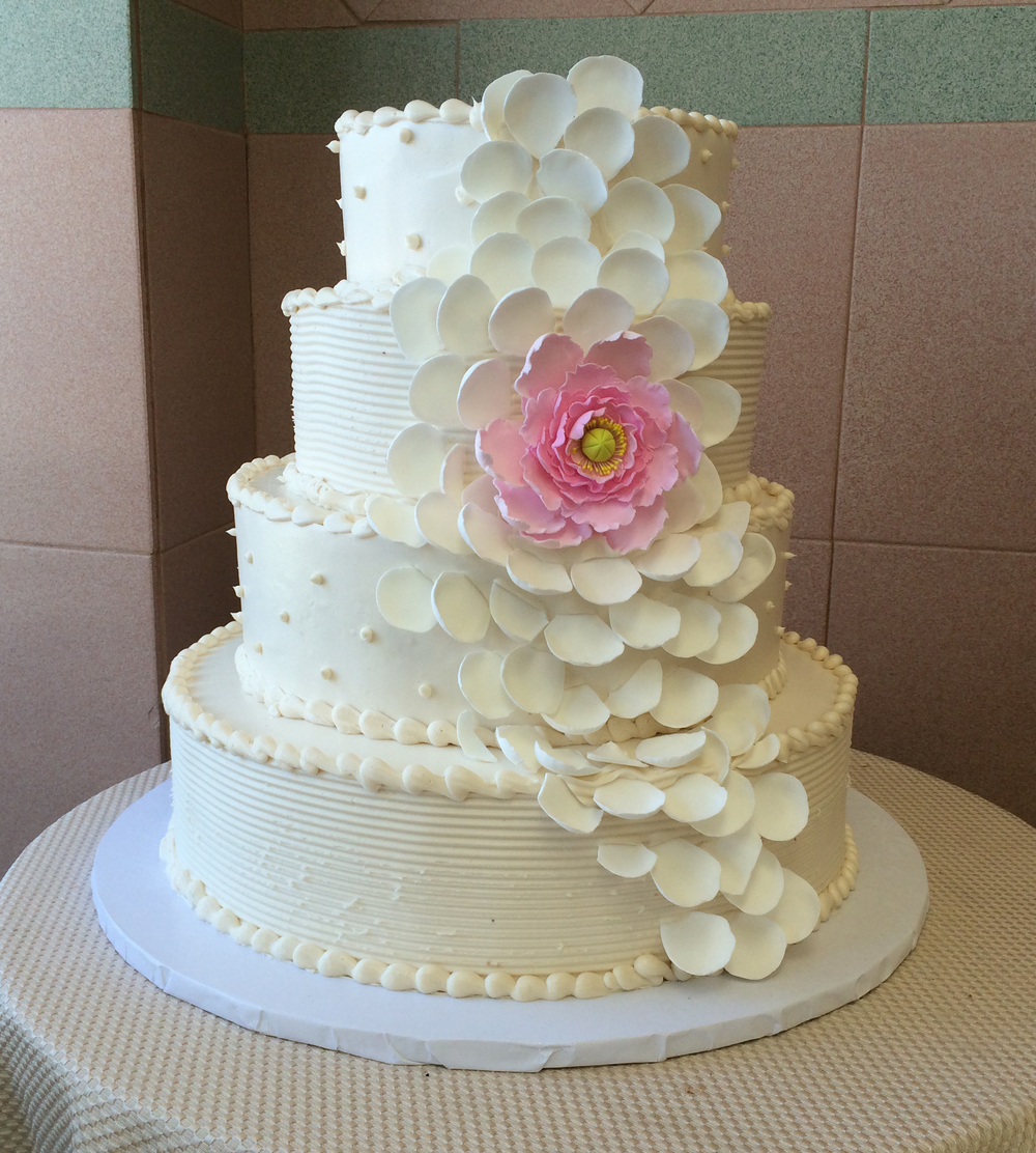 Ivory Butter Cream with Rose Petals & Pink Peony